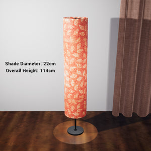 Drum Floor Lamp - P67 - Batik Leaf on Pink, 22cm(d) x 114cm(h) - Imbue Lighting
