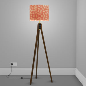 Sapele Tripod Floor Lamp - P67 - Batik Leaf on Pink
