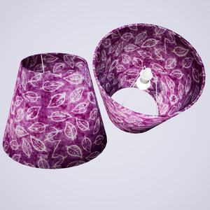 Conical Lamp Shade P68 - Batik Leaf on Purple, 23cm(top) x 40cm(bottom) x 31cm(height)