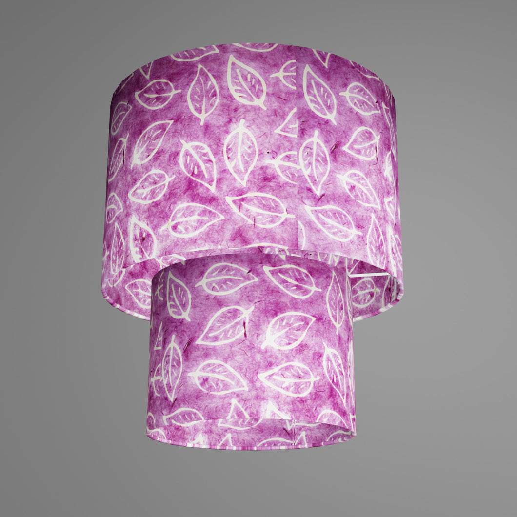 2 Tier Lamp Shade - P68 - Batik Leaf on Purple, 30cm x 20cm & 20cm x 15cm