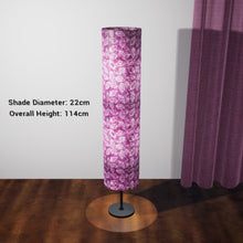 Drum Floor Lamp - P68 - Batik Leaf on Purple, 22cm(d) x 114cm(h) - Imbue Lighting