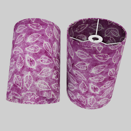 Drum Lamp Shade - P68 - Batik Leaf on Purple, 20cm(d) x 30cm(h)