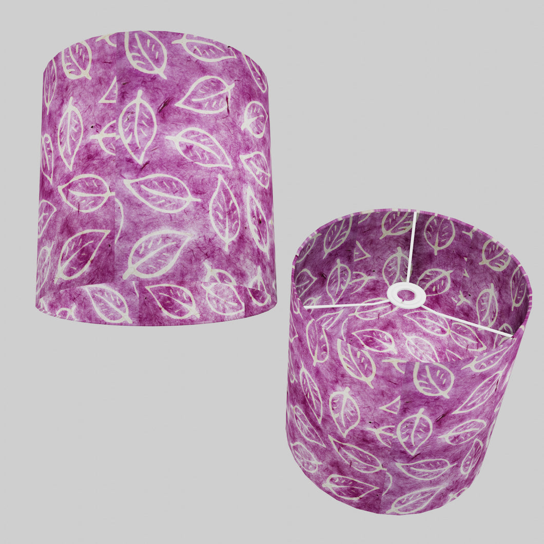 Drum Lamp Shade - P68 - Batik Leaf on Purple, 30cm(d) x 30cm(h)