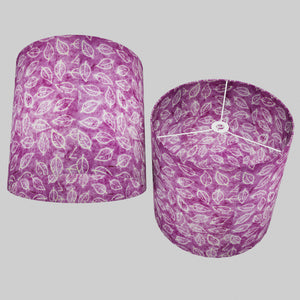 Drum Lamp Shade - P68 - Batik Leaf on Purple, 40cm(d) x 40cm(h)