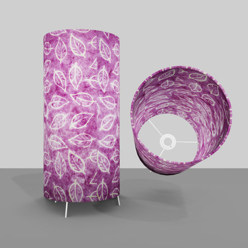 Free Standing Table Lamp Large - P68 ~ Batik Leaf on Purple