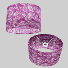 Oval Lamp Shade - P68 - Batik Leaf on Purple, 30cm(w) x 20cm(h) x 22cm(d)