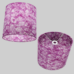 Oval Lamp Shade - P68 - Batik Leaf on Purple, 30cm(w) x 30cm(h) x 22cm(d)
