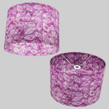 Oval Lamp Shade - P68 - Batik Leaf on Purple, 40cm(w) x 30cm(h) x 30cm(d)