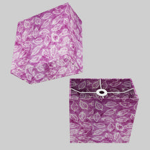 Rectangle Lamp Shade - P68 - Batik Leaf on Purple, 30cm(w) x 30cm(h) x 15cm(d)