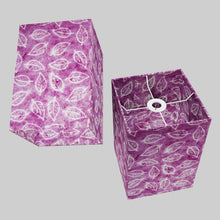 Square Lamp Shade - P68 - Batik Leaf on Purple, 20cm(w) x 30cm(h) x 20cm(d)