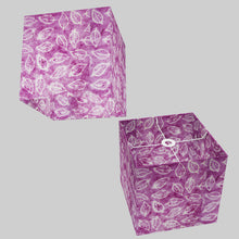 Square Lamp Shade - P68 - Batik Leaf on Purple, 30cm(w) x 30cm(h) x 30cm(d)