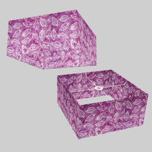 Square Lamp Shade - P68 - Batik Leaf on Purple, 40cm(w) x 20cm(h) x 40cm(d)