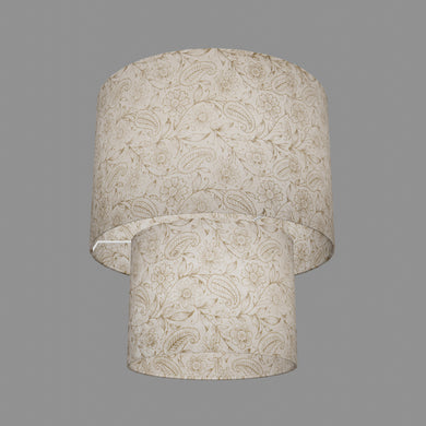 2 Tier Lamp Shade - P69 - Garden Gold on Natural, 30cm x 20cm & 20cm x 15cm