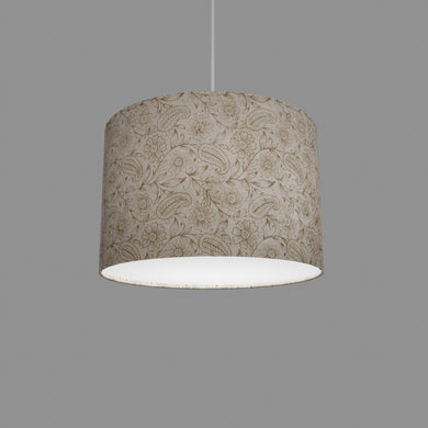 Drum Lamp Shade - P69 - Garden Gold on Natural, 30cm(d) x 20cm(h)