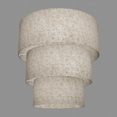3 Tier Lamp Shade - P69 - Garden Gold on Natural, 50cm x 20cm, 40cm x 17.5cm & 30cm x 15cm