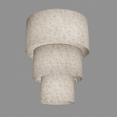 3 Tier Lamp Shade - P69 - Garden Gold on Natural, 40cm x 20cm, 30cm x 17.5cm & 20cm x 15cm
