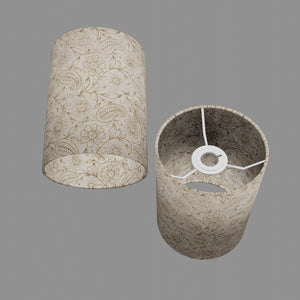 Drum Lamp Shade - P69 - Garden Gold on Natural, 15cm(d) x 20cm(h)