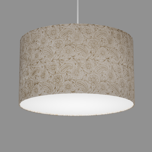 Drum Lamp Shade - P69 - Garden Gold on Natural, 35cm(d) x 20cm(h)