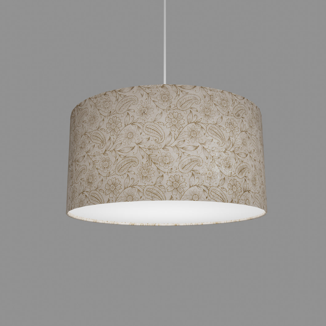 Drum Lamp Shade - P69 - Garden Gold on Natural, 40cm(d) x 20cm(h)