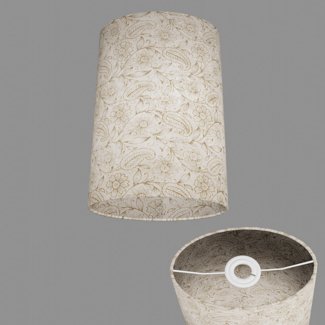 Oval Lamp Shade - P69 - Garden Gold on Natural, 20cm(w) x 30cm(h) x 13cm(d)