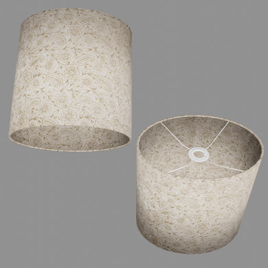Oval Lamp Shade - P69 - Garden Gold on Natural, 30cm(w) x 30cm(h) x 22cm(d)