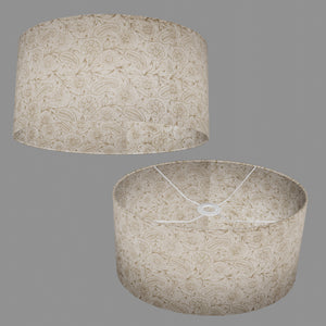 Oval Lamp Shade - P69 - Garden Gold on Natural, 40cm(w) x 20cm(h) x 30cm(d)