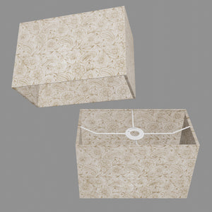 Rectangle Lamp Shade - P69 - Garden Gold on Natural, 30cm(w) x 20cm(h) x 15cm(d)