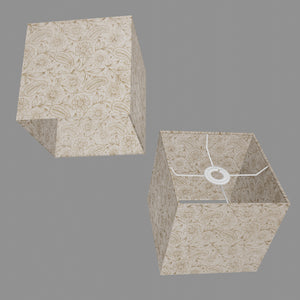 Square Lamp Shade - P69 - Garden Gold on Natural, 20cm(w) x 20cm(h) x 20cm(d)