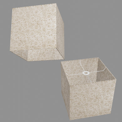 Square Lamp Shade - P69 - Garden Gold on Natural, 30cm(w) x 30cm(h) x 30cm(d)