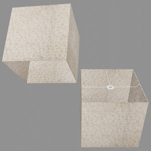 Square Lamp Shade - P69 - Garden Gold on Natural, 40cm(w) x 40cm(h) x 40cm(d)