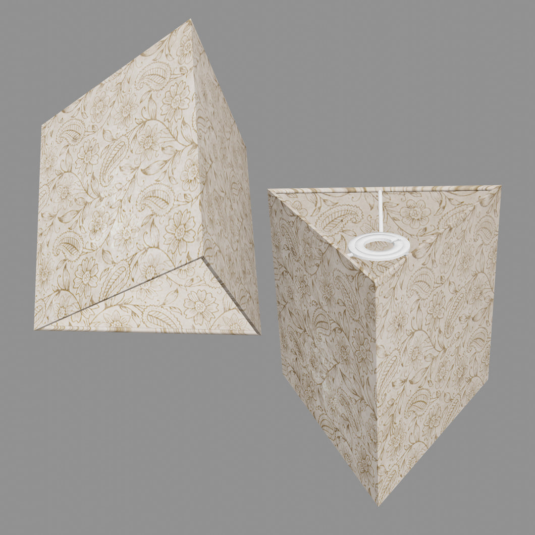 Triangle Lamp Shade - P69 - Garden Gold on Natural, 20cm(w) x 20cm(h)