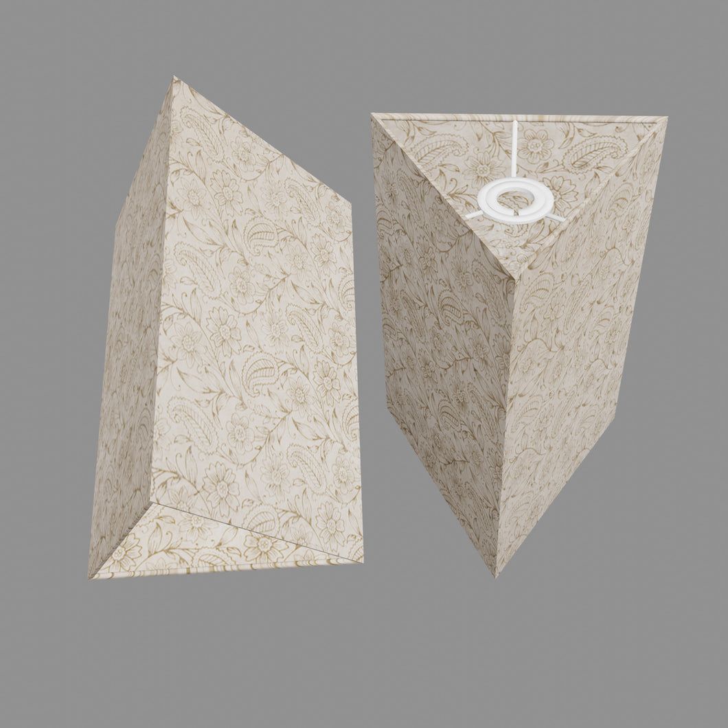 Triangle Lamp Shade - P69 - Garden Gold on Natural, 20cm(w) x 30cm(h)