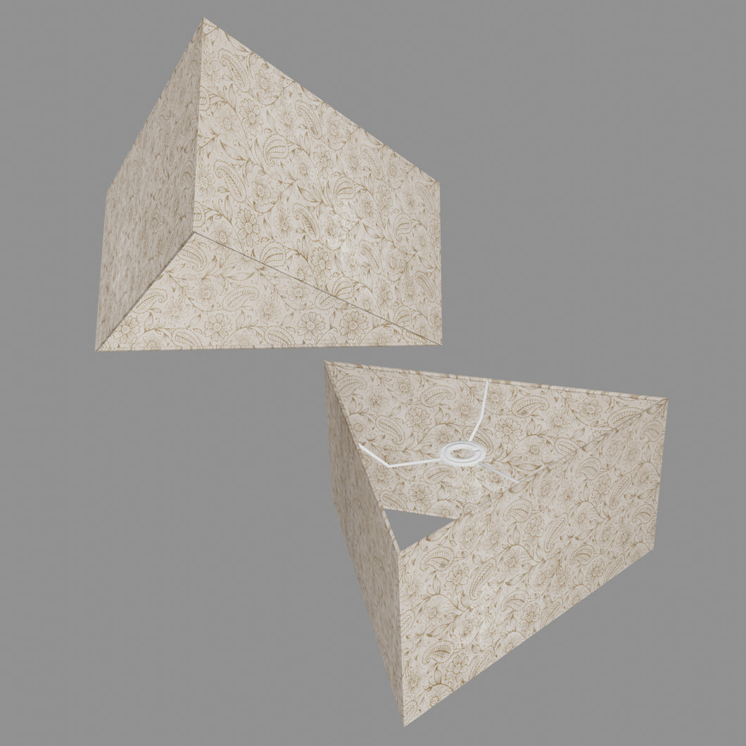 Triangle Lamp Shade - P69 - Garden Gold on Natural, 40cm(w) x 20cm(h)