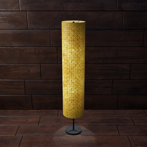 Drum Floor Lamp - P71 - Batik Yellow Circles, 22cm(d) x 114cm(h) - Imbue Lighting