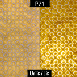Oval Lamp Shade - P71 - Batik Yellow Circles, 20cm(w) x 30cm(h) x 13cm(d) - Imbue Lighting