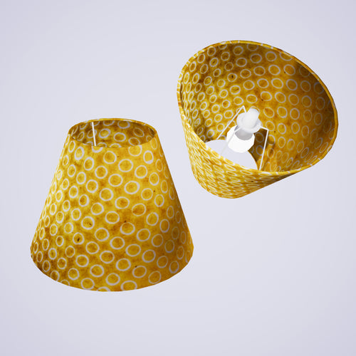 Conical Lamp Shade P71 - Batik Yellow Circles, 15cm(top) x 30cm(bottom) x 22cm(height)