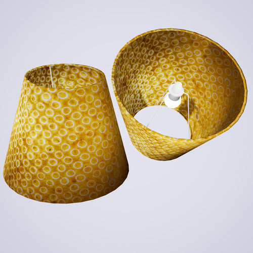 Conical Lamp Shade P71 - Batik Yellow Circles, 23cm(top) x 40cm(bottom) x 31cm(height)