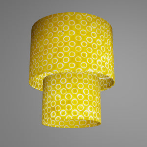 2 Tier Lamp Shade - P71 - Batik Yellow Circles, 30cm x 20cm & 20cm x 15cm