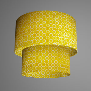 2 Tier Lamp Shade - P71 - Batik Yellow Circles, 40cm x 20cm & 30cm x 15cm