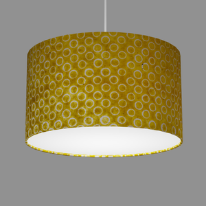 Drum Lamp Shade - P71 - Batik Yellow Circles, 35cm(d) x 20cm(h)