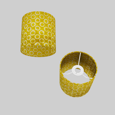 Drum Lamp Shade - P71 - Batik Yellow Circles, 15cm(d) x 15cm(h)