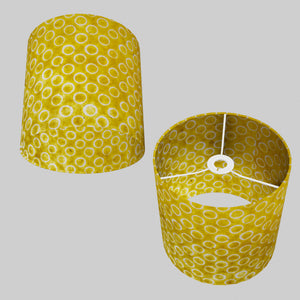 Drum Lamp Shade - P71 - Batik Yellow Circles, 25cm x 25cm