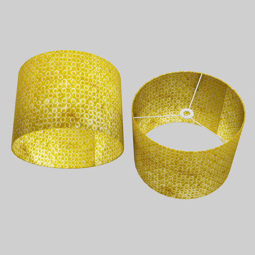 Drum Lamp Shade - P71 - Batik Yellow Circles, 40cm(d) x 30cm(h)