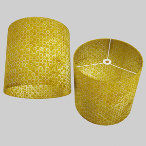 Drum Lamp Shade - P71 - Batik Yellow Circles, 40cm(d) x 40cm(h)