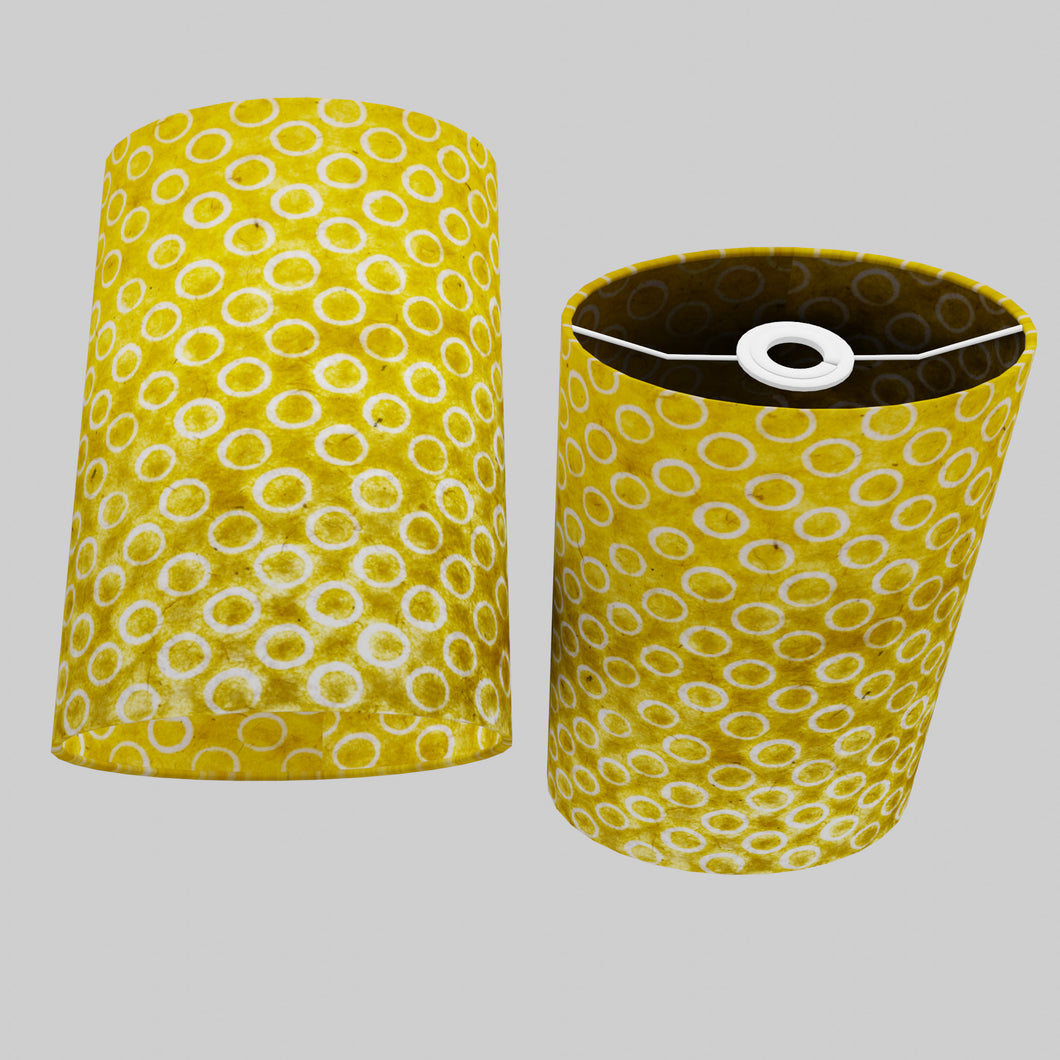 Oval Lamp Shade - P71 - Batik Yellow Circles, 20cm(w) x 30cm(h) x 13cm(d)