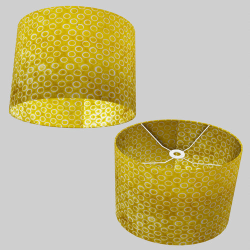 Oval Lamp Shade - P71 - Batik Yellow Circles, 40cm(w) x 30cm(h) x 30cm(d)
