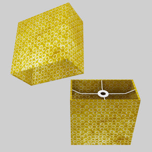 Rectangle Lamp Shade - P71 - Batik Yellow Circles, 30cm(w) x 30cm(h) x 15cm(d)