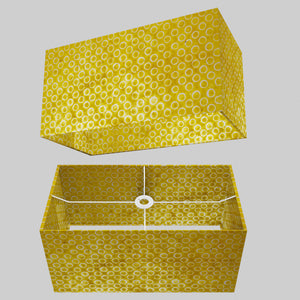 Rectangle Lamp Shade - P71 - Batik Yellow Circles, 50cm(w) x 25cm(h) x 25cm(d)