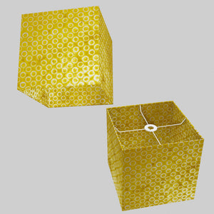 Square Lamp Shade - P71 - Batik Yellow Circles, 30cm(w) x 30cm(h) x 30cm(d)