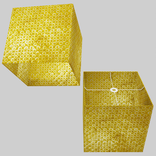 Square Lamp Shade - P71 - Batik Yellow Circles, 40cm(w) x 40cm(h) x 40cm(d)